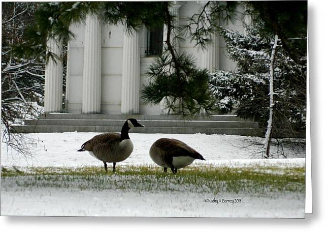 Geese In Snow Greeting Card by Kathy Barney