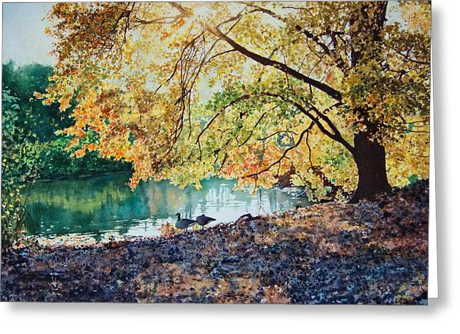 Geese Under A Tree Greeting Card by Ben Sapia