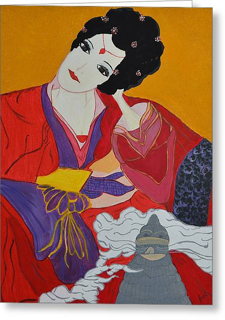 Greeting Card featuring the painting Geisha 2 by Judi Goodwin