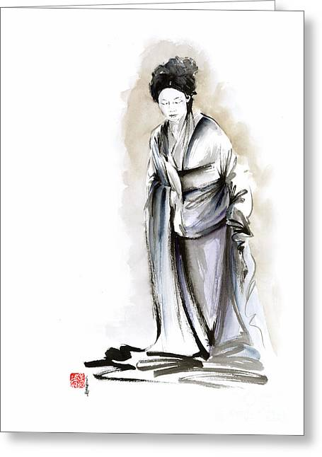 Geisha Classical Figure Kimono Woman Wearing Old Style Painting Greeting Card by Mariusz Szmerdt