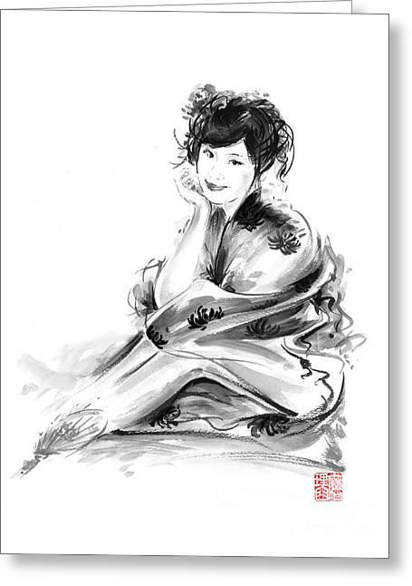 Geisha Geiko Maiko Young Girl Kimono Japanese Japan Woman Sumi-e Original Painting Art Print Greeting Card by Mariusz Szmerdt
