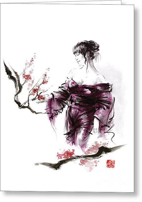 Geisha Geiko Maiko Young Girl Kimono Japanese Japan Woman Sumi-e Original Painting Cherry Blossom Sa Greeting Card by Mariusz Szmerdt
