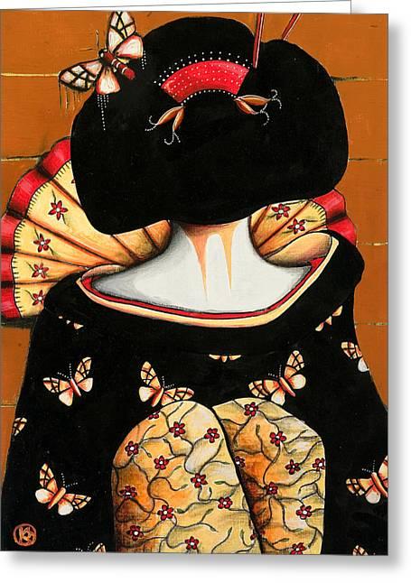 Geisha Girl Greeting Card by Karin Taylor