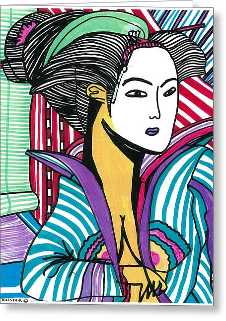 Greeting Card featuring the drawing Geisha Green And Blue by Don Koester