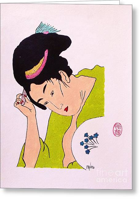 Geisha Hair Dressing Greeting Card by Roberto Prusso