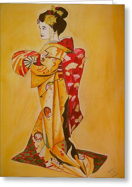 Geisha In Gold Kimono Greeting Card by Sacha Grossel