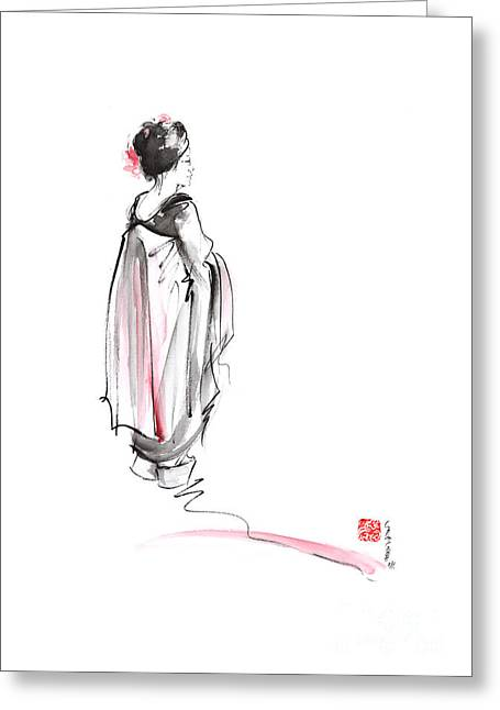 Geisha In Kimono Japanese Ink Painting. Greeting Card