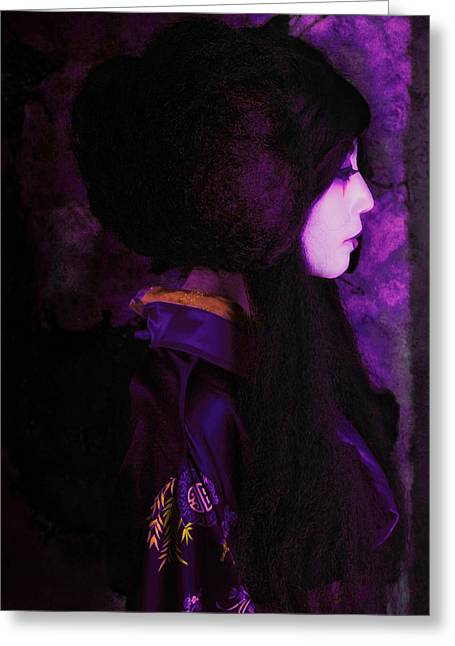 Geisha In Purple And Pink Greeting Card by Jeff Burgess