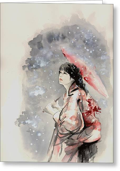 Geisha In Snow. Japanese Woman Portait. Greeting Card