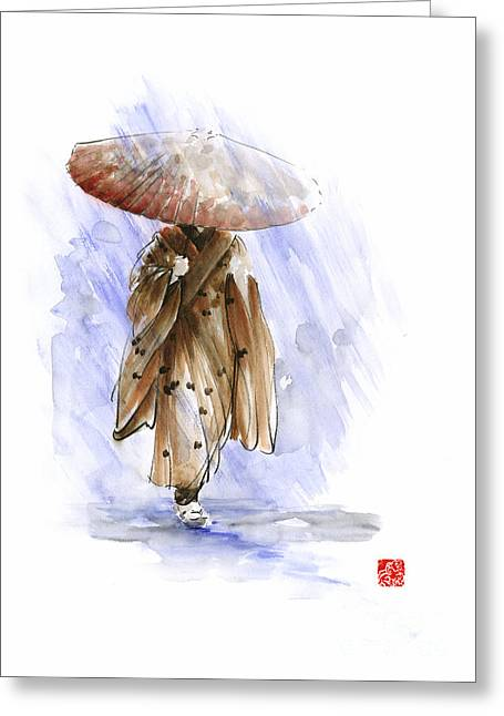 Geisha Japanese Woman Custom Handmade Paper Umbrella Rain Japan Japanese Painting Art  Greeting Card by Mariusz Szmerdt