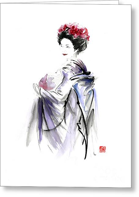 Geisha Japanese Woman In Tokyo Fresh Flowers Kimono Original Japan Painting Art Greeting Card by Mariusz Szmerdt