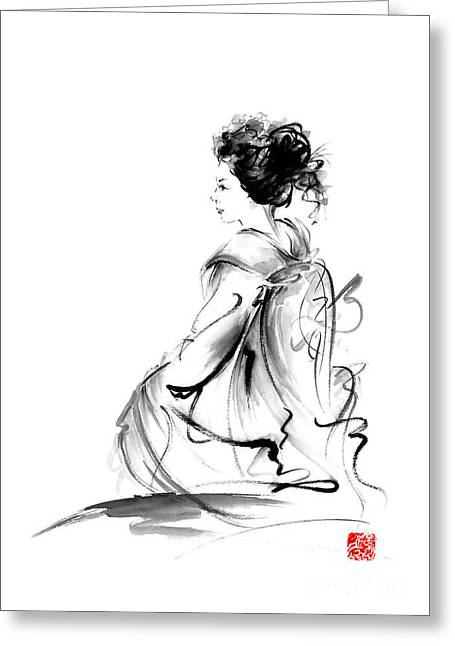 Geisha Japanese Woman In Tokyo Kimono Original Japan Painting Art Greeting Card by Mariusz Szmerdt