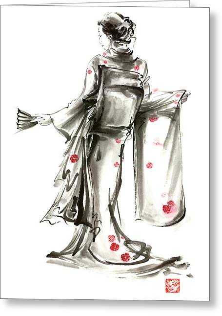 Geisha Japanese Woman Sumi-e Original Painting Art Print Greeting Card by Mariusz Szmerdt