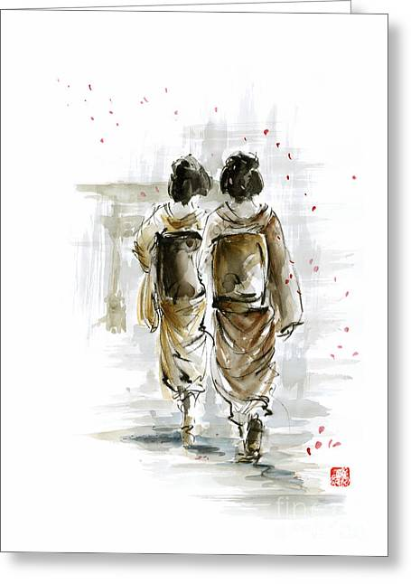 Geisha - Japanese Women. Greeting Card by Mariusz Szmerdt