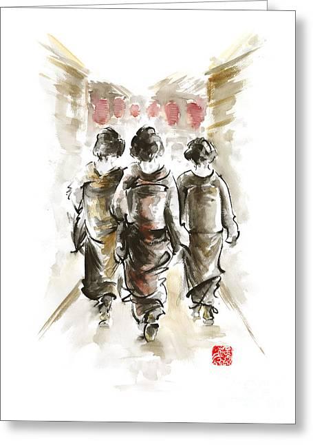 Geisha Japanese Woman Women In Kimono Walking On Street Run Rain Project Design Original Japan Paint Greeting Card by Mariusz Szmerdt