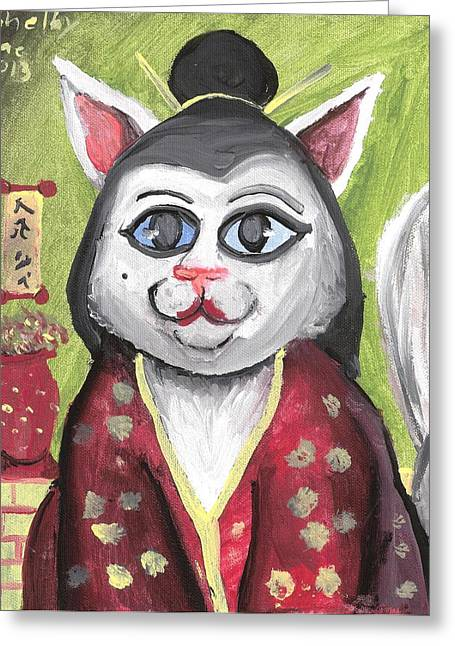 Geisha Kitty Greeting Card by Artists With Autism Inc