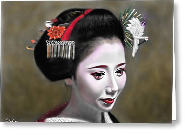 Geisha No.145 Greeting Card by Yoshiyuki Uchida