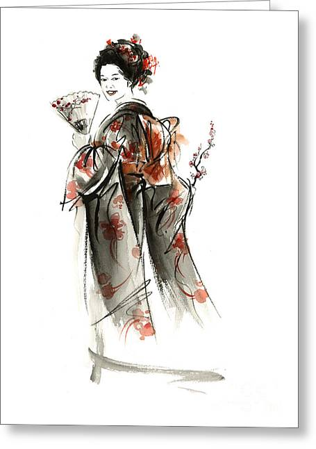 Geisha Smile. Greeting Card