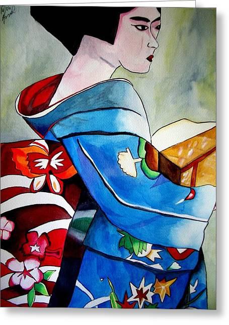Geisha With Blue Kimono Greeting Card by Sacha Grossel