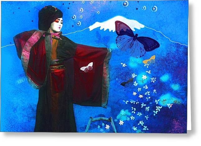 Geisha With Butterflies Greeting Card
