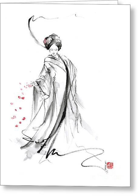 Geisha With Cherry Blossom Flower Greeting Card