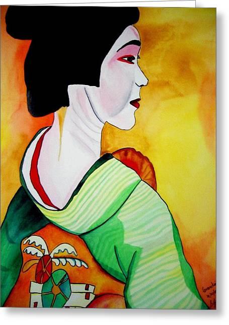 Geisha With Green Kimono Greeting Card by Sacha Grossel