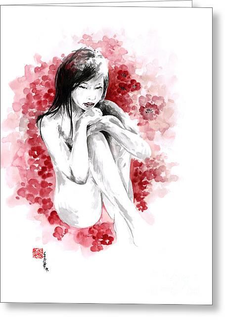 Sakura - Japanese Woman. Greeting Card by Mariusz Szmerdt