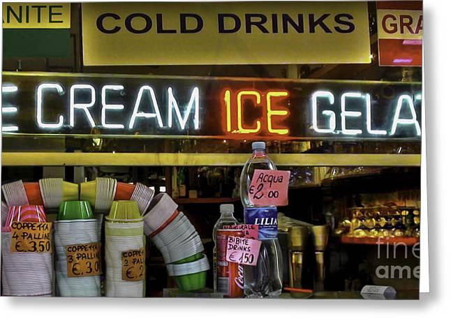 Gelato Icecream Store Greeting Card by Debra Chmelina