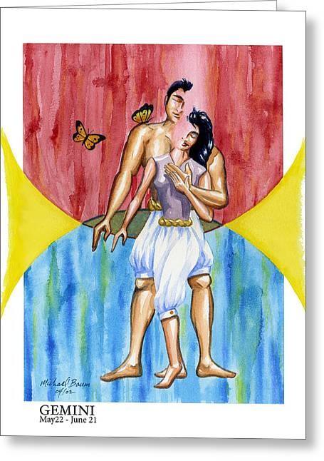 Gemini Greeting Card by Michael Baum