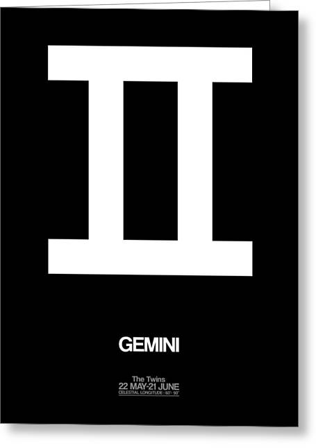 Gemini Zodiac Sign White Greeting Card by Naxart Studio