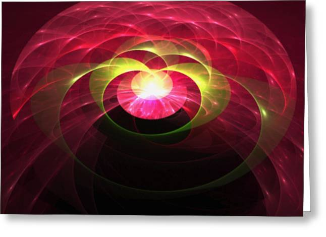 Gemstone Fractal Greeting Card by Gina Lee Manley