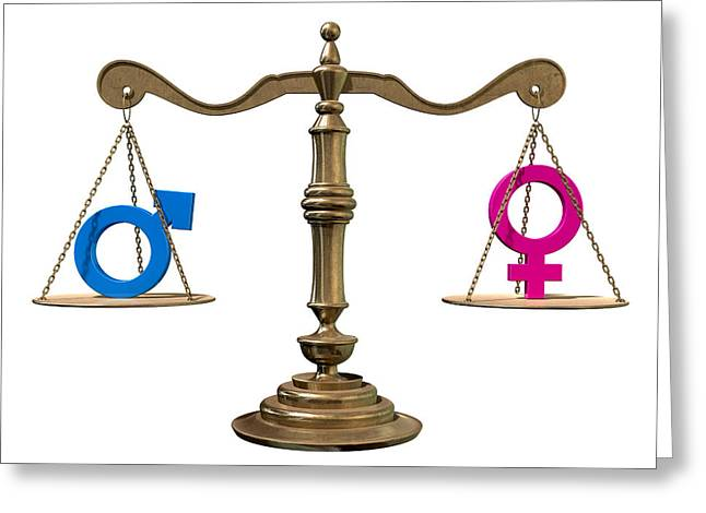 Gender Equality Balancing Scale Greeting Card by Allan Swart