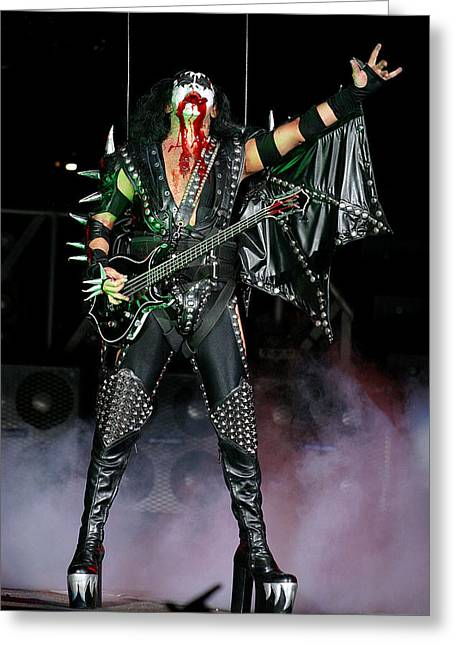 Greeting Card featuring the photograph Gene Simmons - Kiss by Don Olea