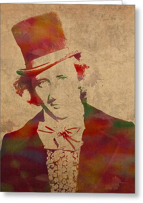 Gene Wilder As Willy Wonka Watercolor Portrait On Distressed Worn Canvas Greeting Card
