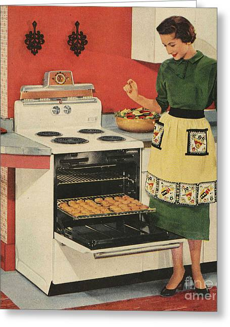 General Electric 1950s Usa  Ovens Greeting Card