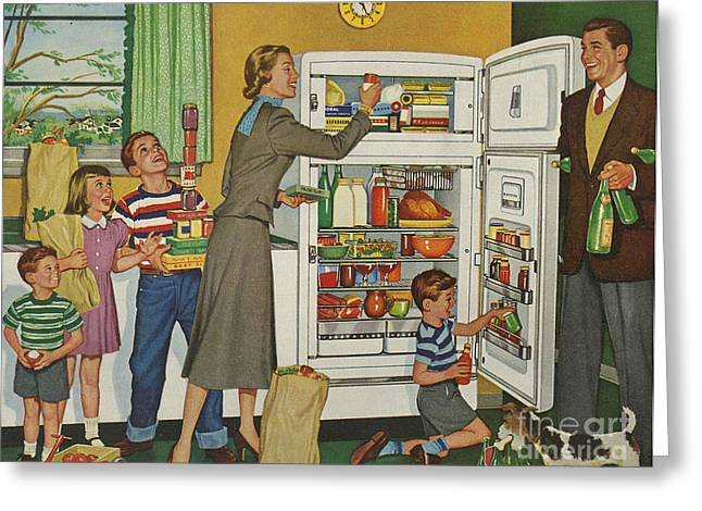 General Electric 1952 1950s Usa Fridges Greeting Card by The Advertising Archives