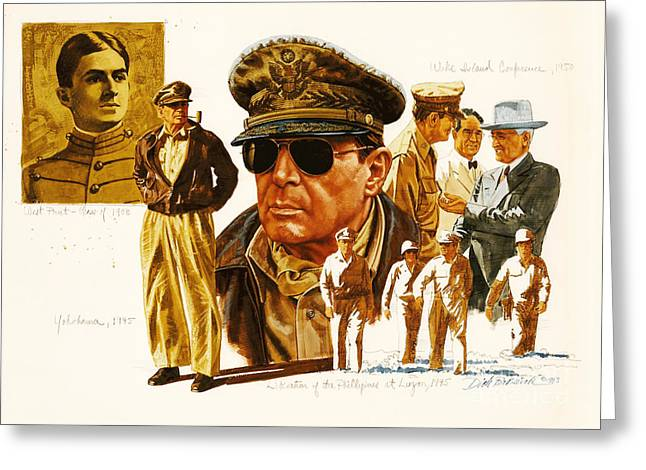 General Macarthur Greeting Card by Dick Bobnick