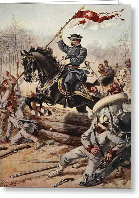 General Sheridan At The Battle Of Five Greeting Card by Henry Alexander Ogden