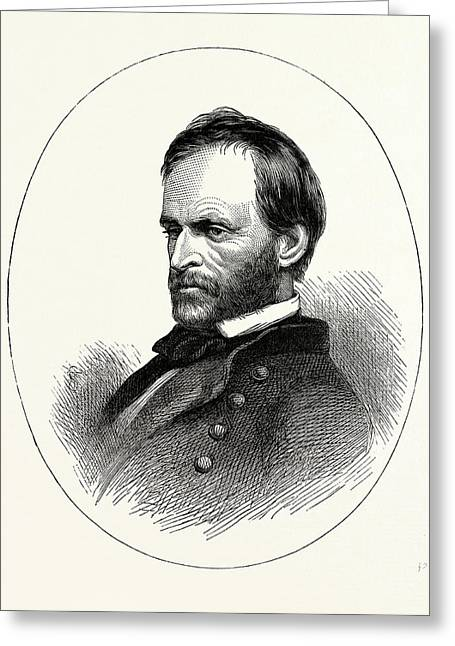 General Sherman He Was An American Soldier Drawing By English School