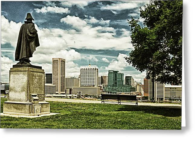 General Smith Overlooks Baltimore Harbor Greeting Card