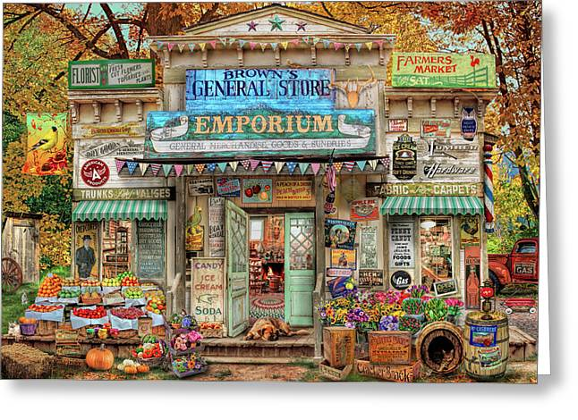 Greeting Card featuring the drawing General Store by Aimee Stewart
