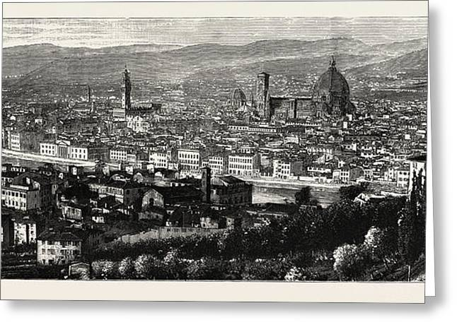 General View Of Florence From The Heights Of San Miniato Greeting Card by Italian School
