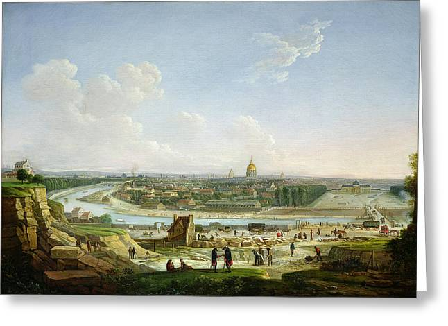 General View Of Paris From The Chaillot Hill, 1818 Oil On Canvas Greeting Card by Seyfert