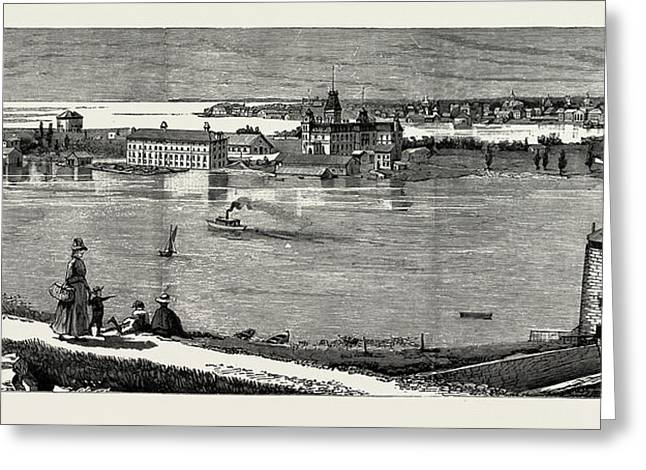 General View Of Wolfe Island, British Naval Defences Greeting Card