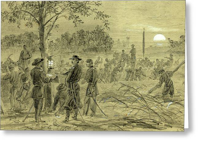 General Warren Fortifying His Lines On The Weldon Road Greeting Card by Quint Lox