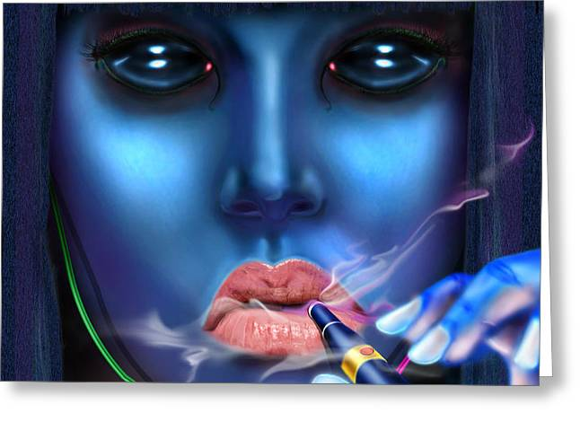 Generation Blu - Fully Loaded And Smoking Greeting Card by Reggie Duffie