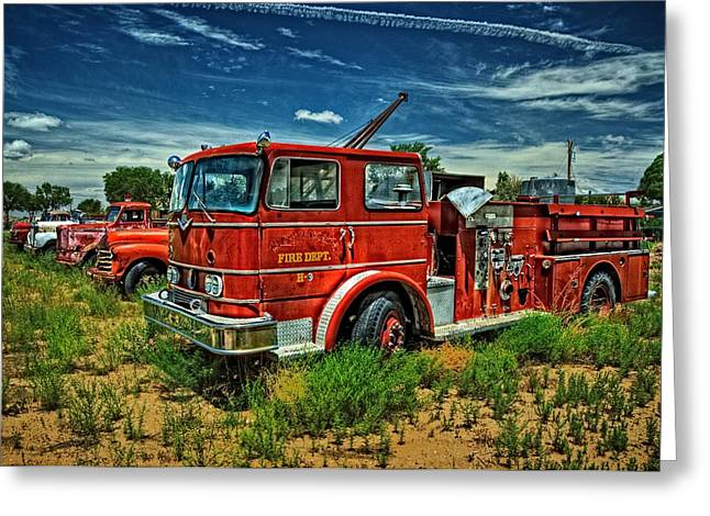 Greeting Card featuring the photograph Generations Of Fire Fighting Equipment by Ken Smith