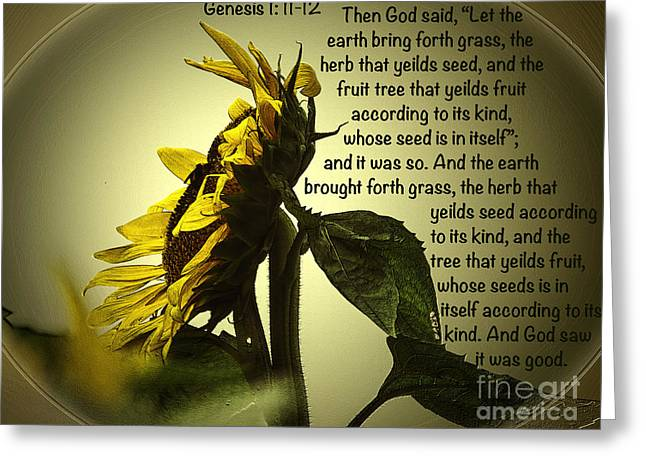 Genesis 1 11-12 Greeting Card by Donna Brown