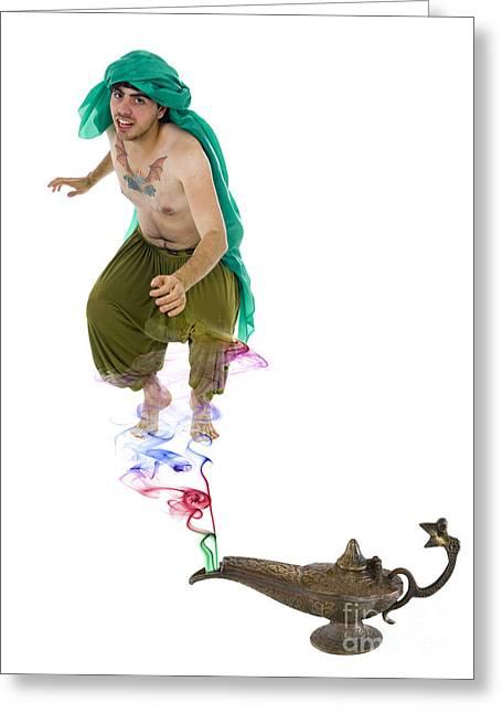 Genie Emerges From A Lantern  Greeting Card
