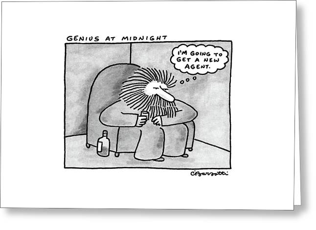 Genius At Midnight Greeting Card by Charles Barsotti
